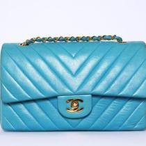 Auth Chanel Vtg Turquoise Blue Chevron Lambskin Classic Double Flap Bag Euc Photo