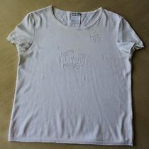 Auth Chanel White Cotton Cc Logo Camellia Sweater Top Sz 38 Photo