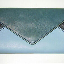 Auth Chloe 3-Tone Blue Leather Long Envelope Flap Wallet/coin Purse- Logo- Rare Photo