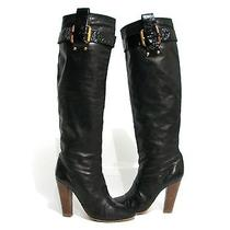 Auth Chloe Black Soft Glove Leather Tall Knee High Heel Boot Patent Belt 37 7 Photo
