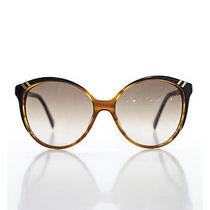Auth Chloe Brown Plastic Cat Eye Gold Tone Hardware Detail Sunglasses in Case Photo