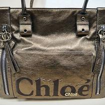 Auth. Chloe Eclipse Leather Tote Handbag Bronze 8as527 Vintage Excellent Cond. Photo