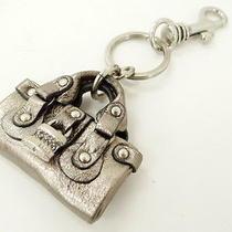 Auth Chloe Key Ring Charm Padlock Paddington Leather Shiny Gray 05110421700 D187 Photo