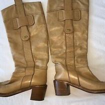 Auth Chloe Knee High Leather Boots Beige 38.5 Photo