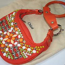 auth.chloe Orange Canvas Handbag Mini Bracelet Stle Near Mint Photo
