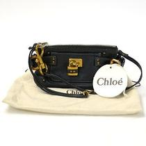 Auth Chloe Paddington Mini Wristlet Clutch Black Leather - E01260 Photo