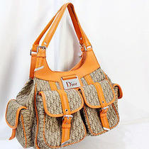 Auth Christian Dior Beige Monogram Canvas Orange Tote Handbag 7513 Photo