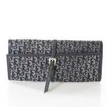 Auth Christian Dior Black Gray Monogram Print Belt Closure Jewelry Case  Photo