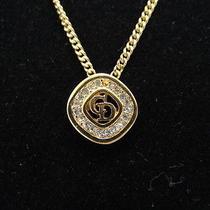 Auth Christian Dior Cd Necklace Pendant Gold Tone Rhinestone 10120169300 6167 Photo