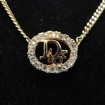 Auth Christian Dior Cd Necklace Pendant Gold Tone Rhinestone 15120391800 N03b Photo