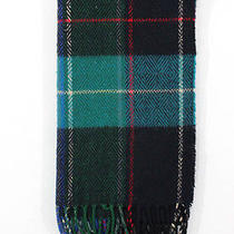 Auth Christian Dior Men's Purple Blue Green Plaid Print Fringe Trim Winter Scarf Photo