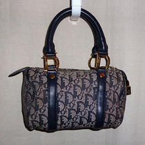 Auth Christian Dior Purse Vintage Monogram Canvas Blue Grey Handbag Lock Trotter Photo