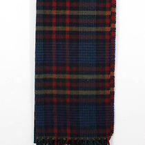 Auth Christian Dior Red Purple Blue Plaid Print Fringe Trim Winter Scarf Photo