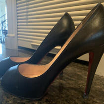 Auth Christian Louboutin  Black Leather  Very Prive  Platform Heels Size 40 Photo