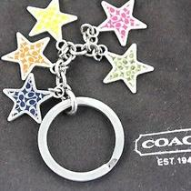 Auth Coach 5 Star Theme Multi Color Silver Metal Bag Charm Key Charm Key Ring Photo