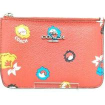 Auth Coach 66087 Red Multi Pvc Coin Case Photo