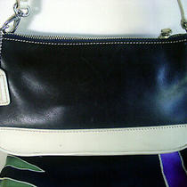 Auth Coach Black & Ivory Glove Leather Purse/hobo Bag  7785 -Rare & Silk Scarf Photo