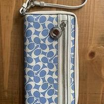 Auth. Coach Chelsea Large Zip Around in Blue/white Wallet Clutch F44633 Photo