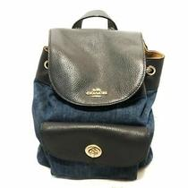 Auth Coach Denim Canvas Floral Mix Leather Mini Billy Backpack Photo
