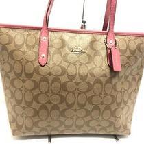Auth Coach F36876 Khaki Pink Pvc & Leather Shoulder Bag Photo