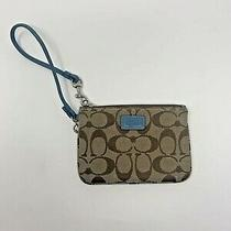 Auth Coach Leatherware Wristlet Wallet  Brown With Jacquard and Blue Leathertrim Photo