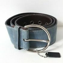 Auth Coach Light Blue Suede Belt  M Photo