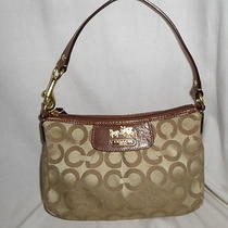 Auth Coach Madison Brown/tan Jacquard Signature C Baguette Small Purse(like New) Photo