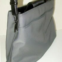 Auth Coach Mercer Gray Nylon/black Leather Purse/shoulder Bag  7412 - Near Mint Photo