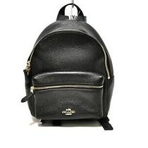 Auth Coach Mini Charlie Pebble Leather Backpack F38263 Black Leather Photo