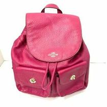 Auth Coach Pebbled Leather Billie Backpack F37410 Purple Leather Backpack Photo
