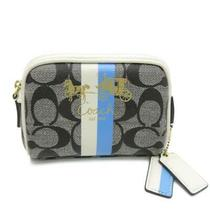 Auth Coach Pouch Clutch Coated Canvas Black White Blue 4722 Photo