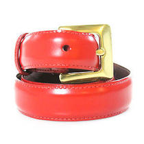 Auth Coach Red Leather Brass Buckle Belt Sz S Photo