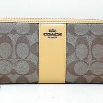 Auth Coach Signature 54630 Khaki Darkyellow Pvc Leather Long Wallet Photo