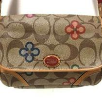 Auth Coach Signature Khaki Beige Multi Pvc Leather Shoulder Bag Photo