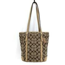 Auth Coach Signatureranchtote 6612 Khaki Beige Jacquard Leather Tote Bag Photo