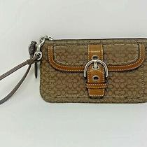 Auth Coach Small Signature C Brown Clutch Wallet W/leather Trim Vintage Photo