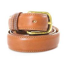 Auth Coach Tan Leather Brass Buckle Belt Sz Eur 32 Photo
