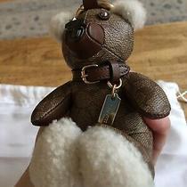 Auth Coach Teddy Bear Shearling Leather Canvas Bag Charm Keychain Photo