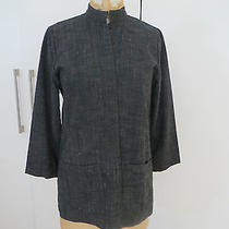 Auth. Eileen Fisher Gray Cotton Rayon Linen Textured One Button Mao Jacket Ps Photo