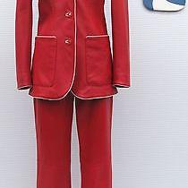 Auth Escada Designer Mint Rare Red Lamb Leather Unique Pant Jacket Blazer Sz 6  Photo