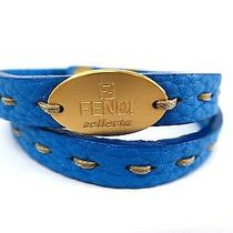Auth Fendi Bracelet Selleria Leather Blue/gold (Bf083143) Photo