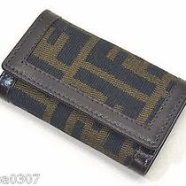 Auth Fendi Canvas Leather Key Chain Rings Holder Case Brown Italy 2251 Zucca Photo