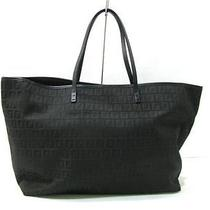 Auth Fendi Canvas Leather Tote Bag Handbag Black Photo