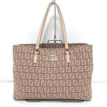 Auth Fendi Canvas Zucca Totebag Shoulder Bag Pink Beige Photo