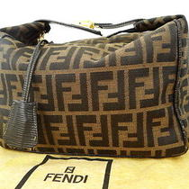 Auth Fendi Hand Bag Pouch Zucca Vanity Canvas Brown Key Lock 99120001200 4137 Photo