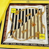 Auth Fendi Handkerchief Set Stripe Black Brown Cotton With Box 28120012200 4205 Photo