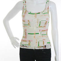 Auth Fendi Ivory Green Red Logo Printed Knit Tank Top Sz S  Photo