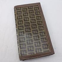 Auth Fendi Pvc/ Leather Brown Checkbook Purse Junk Wallet - Mprs Photo