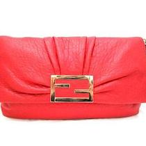 Auth Fendi Red Leather Shoulder Bag Red Photo