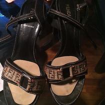 Auth Fendi Signature Slingback Sandals Logo 39 Photo
